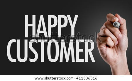 Hand writing the text: Happy Customer - stock photo