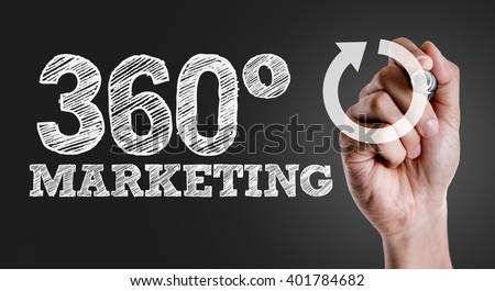 Hand writing the text: 360 Marketing - stock photo