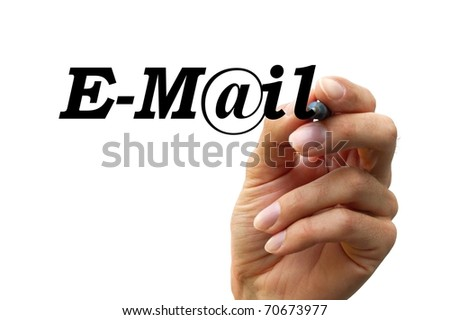 hand writing the word email isolated on white background - stock photo