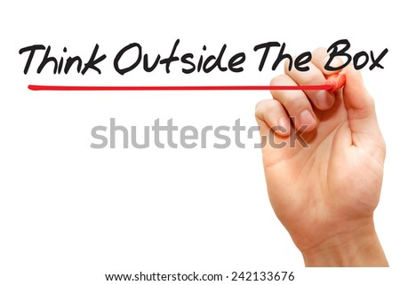 Hand writing Think Outside The Box with red marker, business concept - stock photo