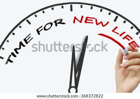 Hand writing time for new life concept with red marker on transparent wipe board. - stock photo