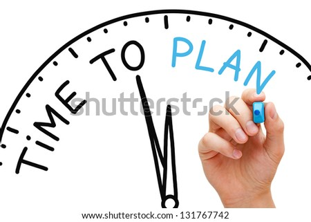 Hand writing Time to Plan concept with blue marker on transparent wipe board. - stock photo