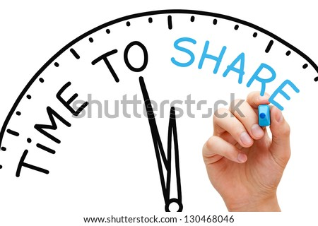 Hand writing Time to Share concept with blue marker on transparent wipe board. - stock photo
