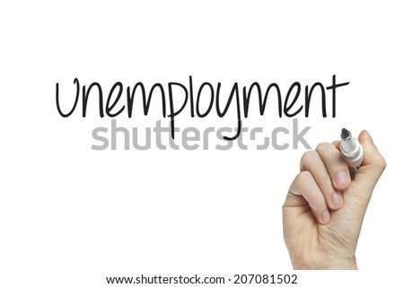 Hand writing unemployment on a white board - stock photo