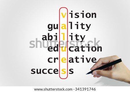 hand writing values puzzle words crossword , business idea , business concept - stock photo