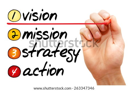 Hand writing vision - mission - strategy - action, business concept - stock photo
