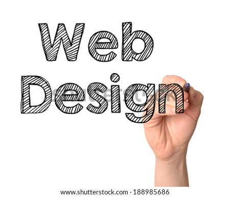 Hand writing Web Design with black marker on transparent wipe board.  - stock photo