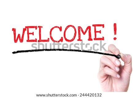 Hand writing Welcome. Hand writing Welcome with marker on a transparent board. - stock photo