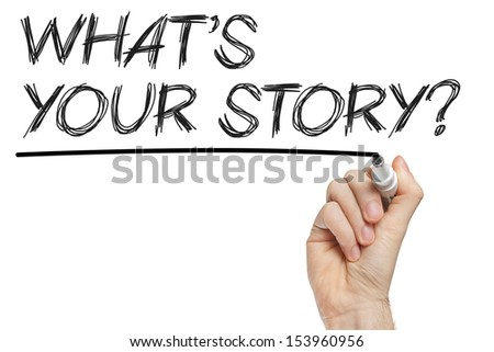 Hand writing what is your story on whiteboard - stock photo