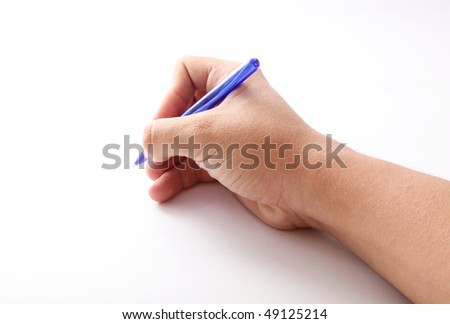 Hand writing with a blue pen. White background