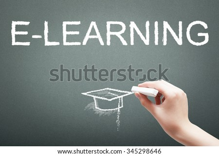 Hand writing with chalk e-learning concept on blackboard