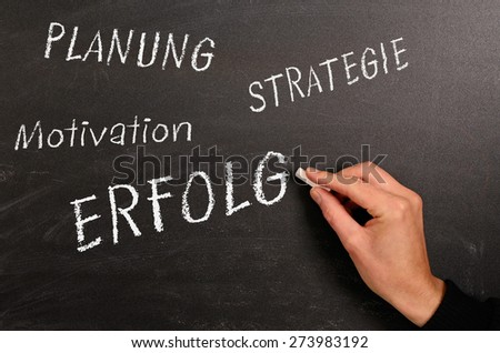 Hand writing with chalk on a blackboard - stock photo
