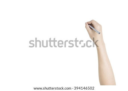hand writing with pen. isolated on white background with clipping path
