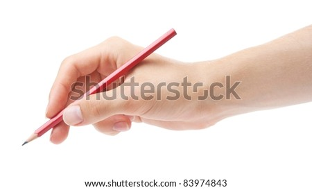 Hand writing with red pencil. - stock photo