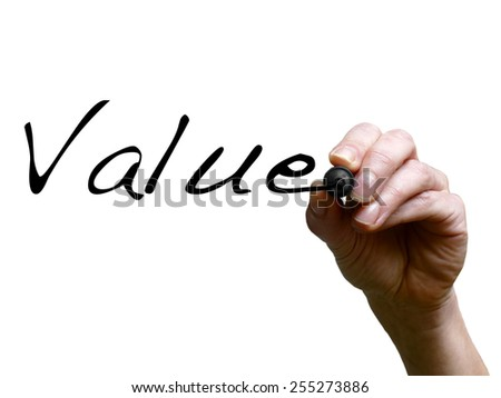 Hand writing word value with black marker on transparent whiteboard - stock photo