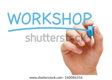 Hand writing Workshop with blue marker on transparent wipe board. - stock photo