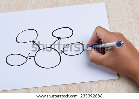 Hand writing writing strategy flowchart on the paper sheet - stock photo