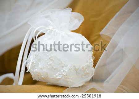 Handbag of the bride on a brown background