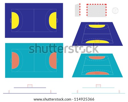 Handball Court with Sections and Perspective - stock photo