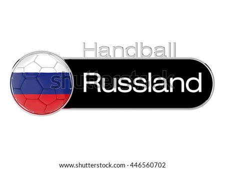 Handball with Russia flag, German Version 3, 3D-Rendering