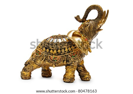 Handcrafted indian elephant isolated on a white background - stock photo