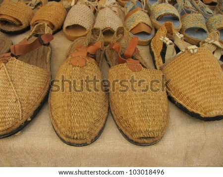 Handcrafted shoe store. - stock photo