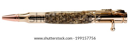 Handcrafted Snake Skin Pen Wrapped in Clear Acrylic with a Shotgun Style Metal Endpiece