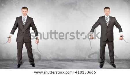 Handcuffs and white collar crime, arrest. Businessmen broke chain - stock photo