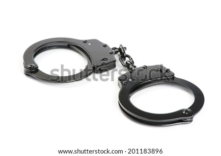 handcuffs isolated - stock photo