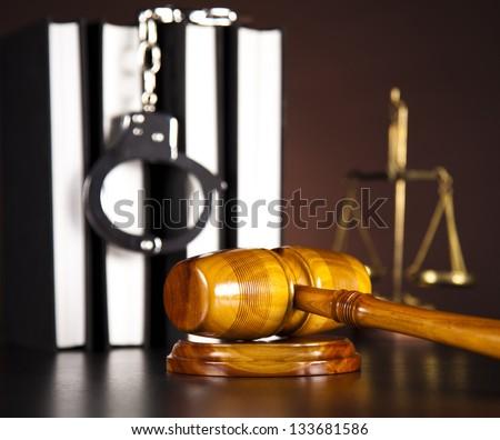 Handcuffs, Legal gavel - stock photo