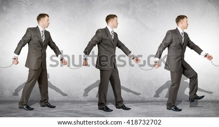 Handcuffs, white collar crime, arrest. People going to each other - stock photo