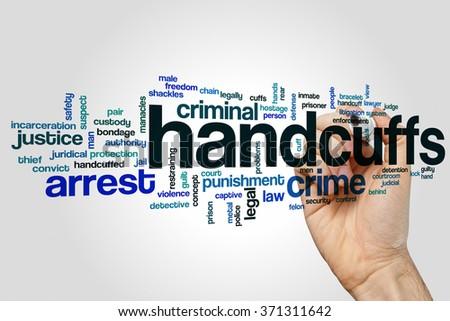 Handcuffs word cloud - stock photo