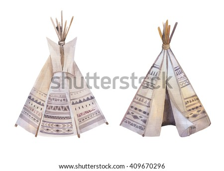 Handdrawn watercolor tribal teepee isolated white c&site tent. Boho America traditional native ornament.  sc 1 st  Shutterstock & Teepee Stock Images Royalty-Free Images u0026 Vectors   Shutterstock