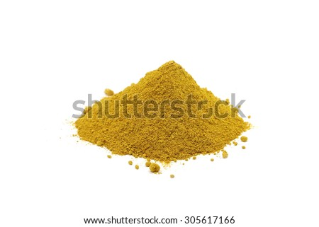 handful chopped turmeric on white background