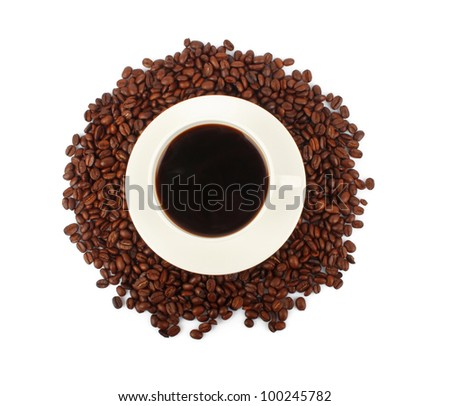 handful of coffee beans and cup of hot drink on white background, food photo