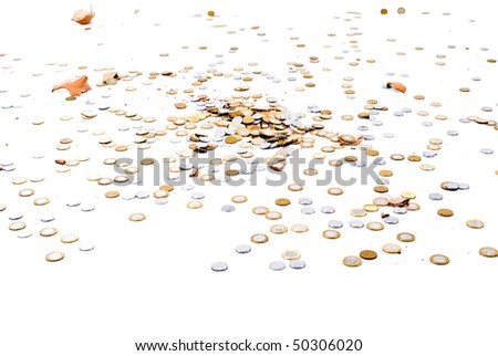 Handful of coins scattered on a floor after pigbank broken.
