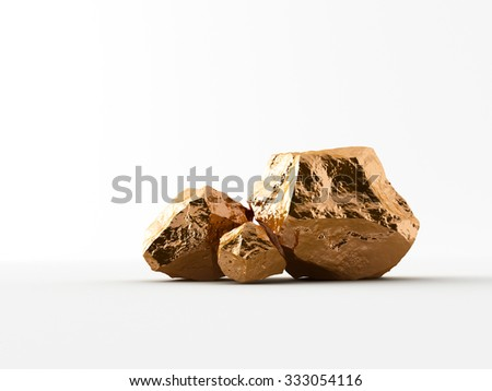 Handful of copper on white background - stock photo