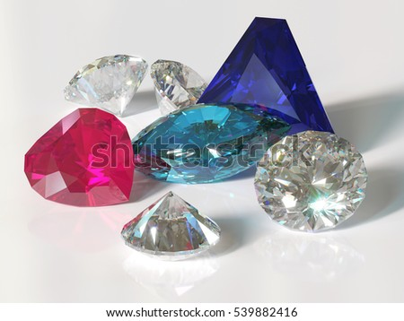 Handful of gems with reflections and shadows on white glossy background. Round cut clear diamonds, heart cut red ruby, triangle cut blue sapphire, marquise cut light blue aquamarine. 3D image