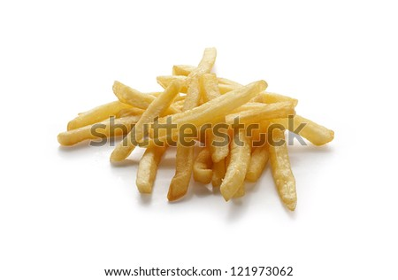 Handful of potato fries on the white background