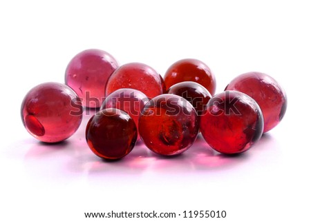 Handful of Red Marbles - stock photo