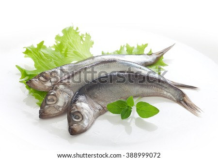 Handful of salted with spices sprats on the fresh green lettuce