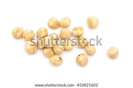 handful of shelled hazelnuts isolated on white background
