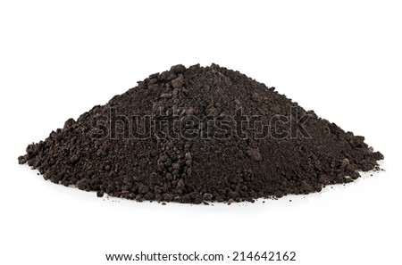 handful of soil isolated on white background - stock photo