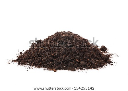 handful of soil on a white background - stock photo