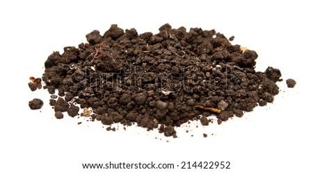 Handful of soil on white - stock photo