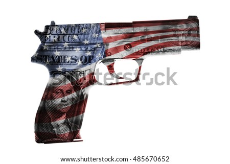 Handgun, American cash and flag composite