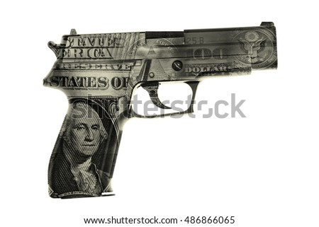 Handgun and American cash composite