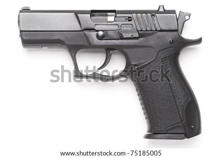 handgun close up isolated on white background - stock photo
