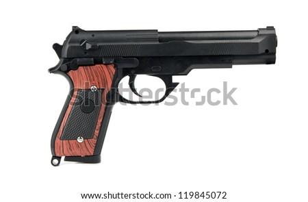 handgun is isolated on white - stock photo