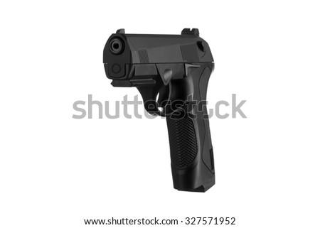 Handgun isolated on white background 3/4 view - stock photo